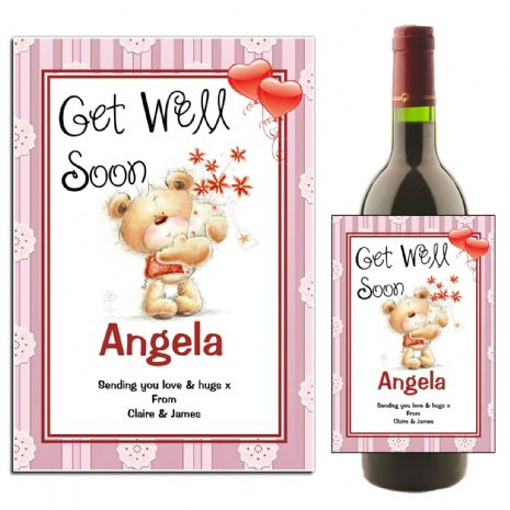 Personalised Get Well Soon Wine / Champagne Bottle Label N41